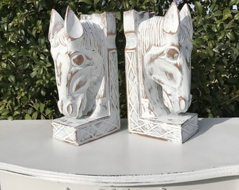 Wood Horse Head Bookends, Shabby Chic Bookends, French Country Farmhouse Horse Bookends