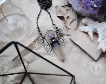 For order! Boho jewelry, Rococo jewelry, Boho necklace, Vintage jewelry, Amethyst necklace, Raw crystal necklace long chain