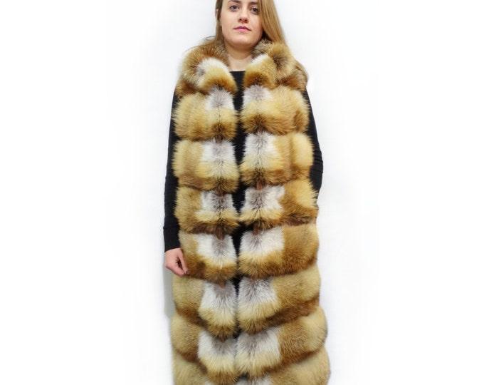 Fashionable Long Red Fox Fur Vest F355