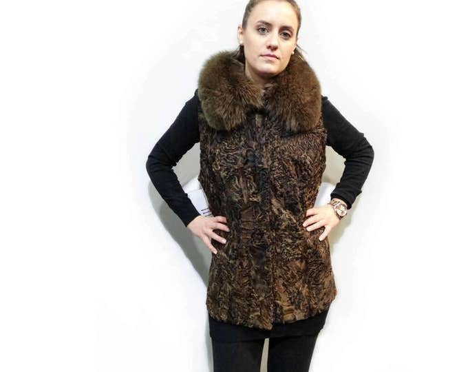 Real Fur Astrakhan-Karakul with Fox Collar Brown Vest F229
