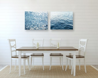 Water Prints, Set of TWO Ocean Prints, Abstract Wall Art, Water Canvas Art, Blue Canvas Art, Blue Bathroom Art, Bathroom Wall Art Set