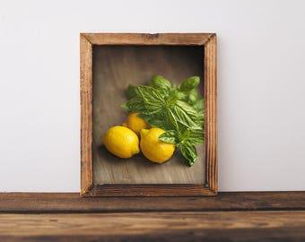 Kitchen Wall Art Print Lemon Kitchen Decor Yellow Kitchen Decor Kitchen Art