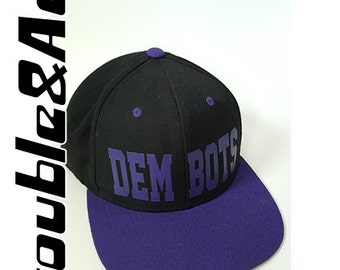 DEM BOTS Baseball Cap Purple Black TPS F.I.R.S.T. Robotics Hat T-Prep Spirit Wear Temecula Preparatory School Flat Bill Snapback