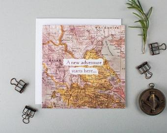 New Adventure Congratulations Card - New Job Card - New House Card - Graduation Card - Card For Traveller - Good Luck - Congratulations