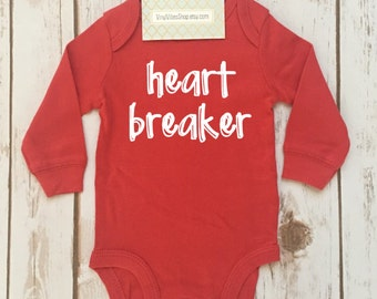 infant baby valentine shirt, heart breaker long sleeve, long sleeve valentines outfit, valentine outfit, first valentines, heart breaker,