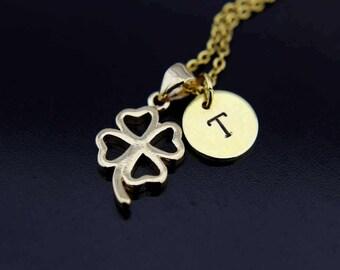 Clover Necklace, Gold Four Leaf Clover Charm Necklace, Shamrock Necklace, Clover Charm, Personalized Necklace Initial Necklace Initial Charm