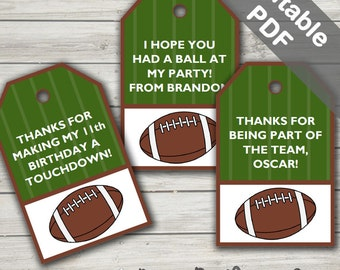 Football Party Favor Tags (Football Thank You Tags). Super Bowl Party. Printable PDF (EDITABLE). Instant Download.