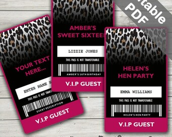 Leopard Party VIP Pass (Cheetah VIP badge). Editable PDFs. Instant Download.