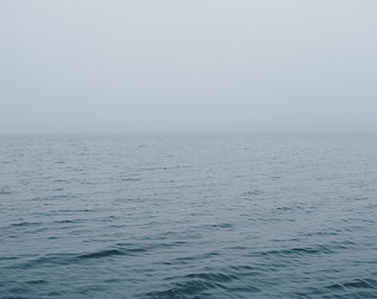 """Fog and Water Minimalist Photo,  Fog and Blue Water Print, Landscape Art, Pacific Northwest, Large Wall Art, Lake and Fog,  """"Blue Water Fog"""""""