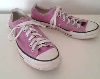 Vintage Chuck Taylor Converse All Star Lilac Orchid Purple Canvas Lo Top Tennis Shoes Sneakers Sz 8 Women's 6 Men's Classic Grunge Hippie