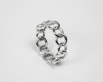 Chain Ring - Sterling Silver - Ring Chain Minimal - Essential Ring - Ring Casual and Elegant