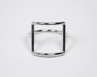 Square Ring - Sterling Silver - Minimal Ring - Casual Ring