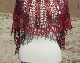 Variegated Reds Lace Merino Wool Crescent Crocheted Shawl