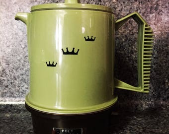 Mid-Century Vintage Regal Green Poly Perk Coffee Maker Pot