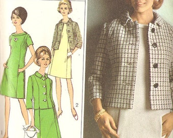 Simplicity 7268 Misses' 1960's Dress and Jacket - Size 12 1/2 Bust: 33""