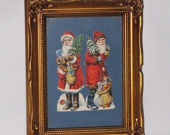 Antique Paper Cut Out, German Paper Doll, Framed Santa Claus Paper Cut Out