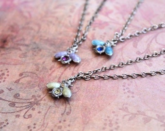 Vintage New Old Stock Bee Necklace // Dainty Bee Necklace // Crystal Bee // Choose Your Color // 90's Jewelry