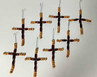 Wood Beaded crosses Christmas Tree Ornaments Handmade Set of 8