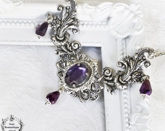 """Dream essence"""" victorian gothic necklace-silver gothic cameo necklace-victorian gothic jewelry-necklace with gem"""