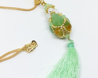 Green Agate Pendant, Green Teardrop Necklace, Extra Long Tassel Necklace, Bohemian Necklace