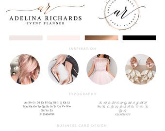 Wedding Logo, Wedding Planner Logo Design, Photography Logo Design, Rose Gold branding Package, Predesigned Rose Gold Logo Package
