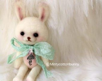 Blythe Needle felted softie bunny Room companion