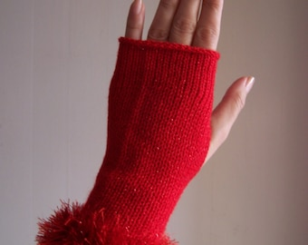 knit glamour glittery sparkly red festive club fingerless gloves with sparkly faux fur trim