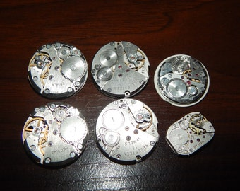 Set of 6   Vintage watch movements, Lot, Steampunk supplies, Steampunk parts   #et 580