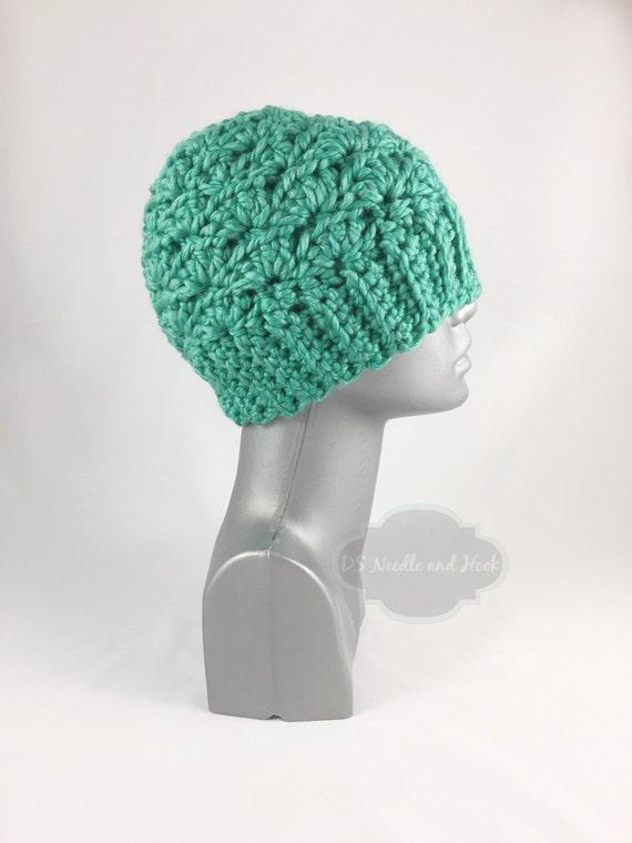 Green Chunky Crochet Hat, Dark Aqua Winter Hat, Chunky Teal Crochet Beanie, Warm Ski Cap
