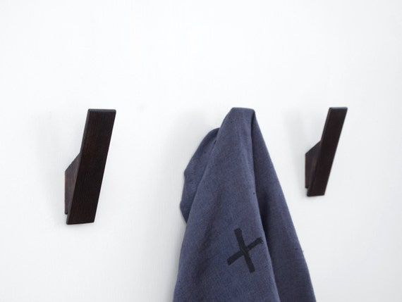Wooden Wall Hooks With A Black Scorched Finish Simple Modern