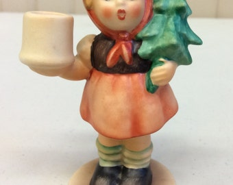 Vintage Goebel Figurine: Girl With Fir Tree - Orange, Brown, and Green
