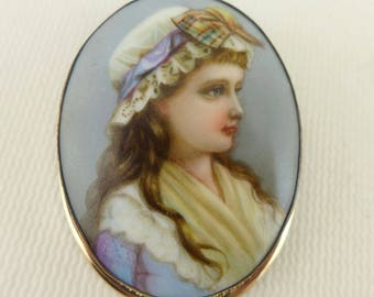 Porcelain Portrait Brooch, Vintage Hand Painted Portrait Brooch In 10K GF Frame, Hand Painted Portrait Pin