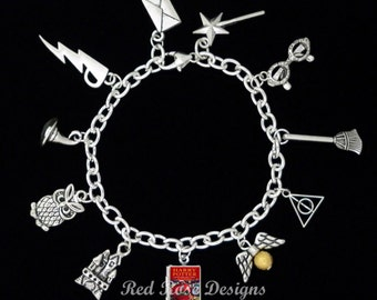Harry Potter Themed Book Locket Charm Bracelet