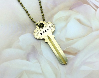 Vintage Grace Key Necklace/ Jewelry / Stamped Vintage Key / Grace Key Pendant/ Hand Stamped/ Gift For Her/ Gift For Friend/ Steampunk /