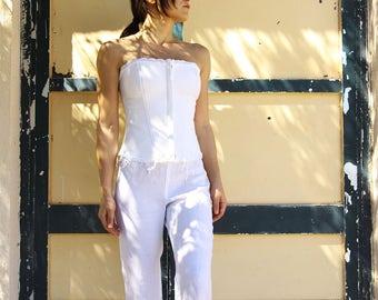 Vintage white linen crochet bustier corset top.size s