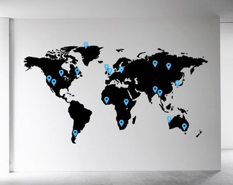 world map wall decal etsy uk. Black Bedroom Furniture Sets. Home Design Ideas