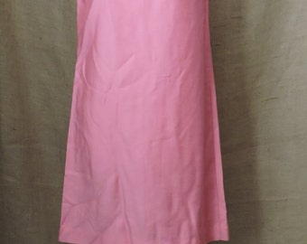 New Listing** - 2773 - Vintage Dress Suit Size M Pink Solid Long Sleeve Knee Length Acetate 1970s