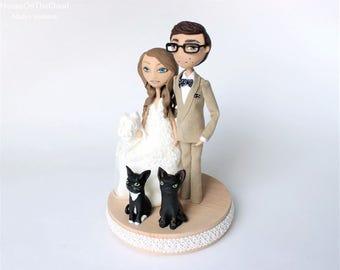 Wedding Cake Topper Rustic wedding decor cat unique wedding cake custom bride and groom caketop figurine