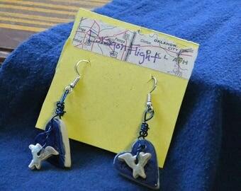 Blue Heart Bird Dangling Earrings