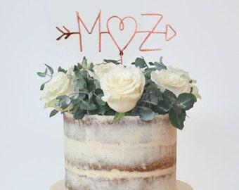 Wire Cake Topper, Personalized Cake Topper, Custom Cake Topper, Arrow cake topper, Initials Cake Topper,Heart cake topper,rustic cake topper