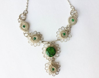 Silver Filagree Wire Green Stones