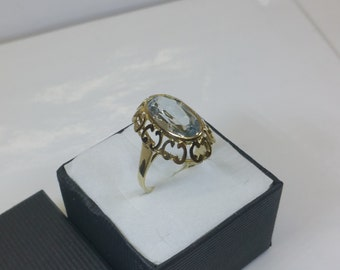 Ring gold 333 with aquamarine vintage GR213 elegant