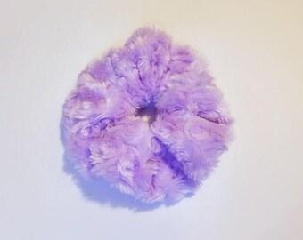 Pastel Purple Fuzzy Scrunchie - 90's 80's Retro Hair Tie - Fairy Kei Ponytail Holder - Lolita Aesthetic Accessory - Soft Minky Scrunchie