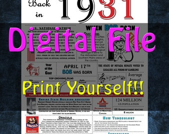 1931 Personalized Birthday Poster, 1931 History - DIGITAL FILE!!