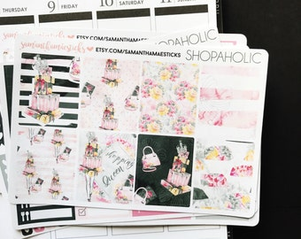 VERTICAL Shopaholic for use with Erin Condren Lifeplanner™Weekly Kit Planner Stickers