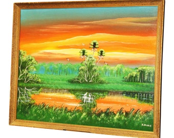 Original FLORIDA HIGHWAYMEN PAINTING Signed Al Black canvas nautical wall art nautical wall art listed river