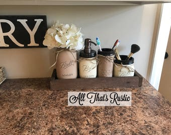 Wonderful Rustic Bathroom Set, 4 Piece Bathroom Set, Mason Jar Bathroom Set, Mason Jar