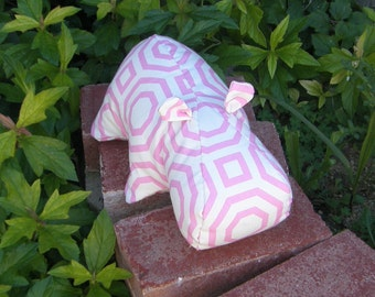 Hippopotamus, Hippo Doll, Soft Sculpture Hippo, Upcycled Upholstery, Pink and White Fabric, Repurposed Decorator Fabric, Hippo Art Doll