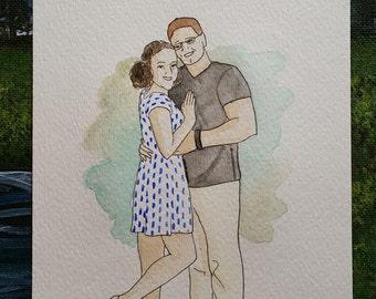 Custom Couple Watercolor Portrait, Custom Engagement Illustration, Engagement Gift