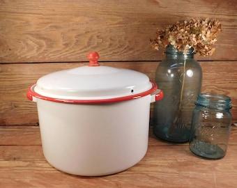 Vintage White and Red Enamel Stock Pot, Farmhouse Kitchen, Enamelware Cookware, Farmhouse